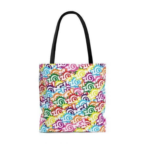 Zong Weekender White Rainbow Tote Bag with black strap