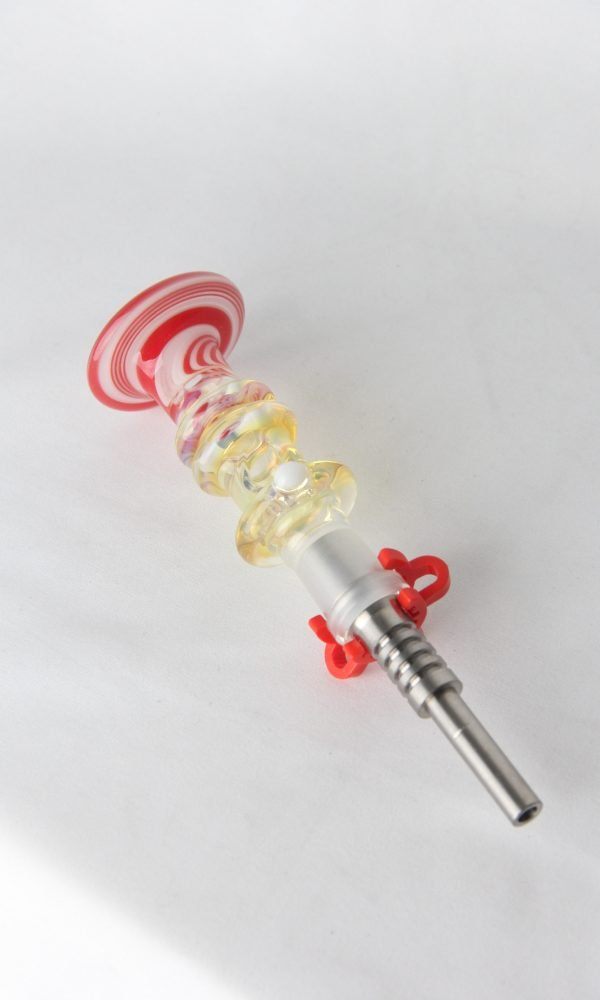 Custom Christmas Flared Peanut Nectar Collectors with titanium tip (Candy Cane)